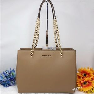 NWT Michael Kors Ellis Large Leather Tote Khaki